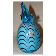 Dave Fetty Off Hand Bird on Glass Egg for Fenton
