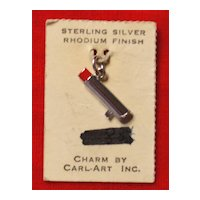 New Old Stock Sterling Silver Lipstick Charm on Original Card