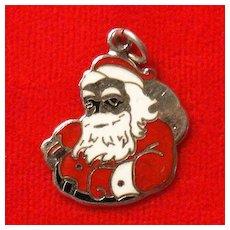 Beau Sterling Silver and Enamel Santa Claus Charm