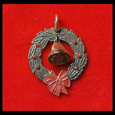 Christmas Wreath Charm - Gold Wash Over Sterling Silver