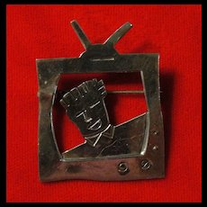 Vintage Sterling Silver 1950's Television Pin