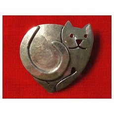 Sterling Silver Kitty Cat Pin by Far Fetched