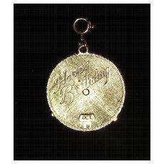 Vintage Mechanical Birthday Calendar Charm - Goldtone