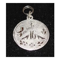 Vintage Sterling Silver Sweet 16 Disc Charm
