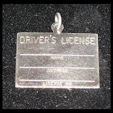 Vintage Danecraft Sterling Silver Driver's License Charm