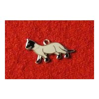 Vintage Sterling and Enamel Siamese or Sealpoint Cat Charm