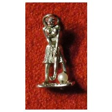 Vintage Mechanical Lady Golfer Charm 3D
