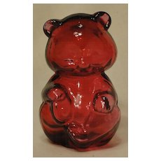 Fenton Hollow Cranberry Glass Hand Blown Bear
