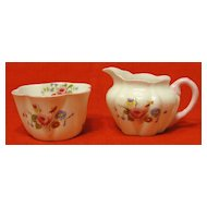Shelley Rose and Red Daisy Porcelain Creamer and Sugar