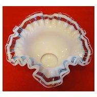 Rarest Fenton Triple Crest Glass Bowl - Aqua Crystal Crest