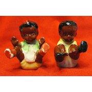 Black Memorabilia Sitting Boy and Girl Salt and Pepper Shakers