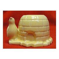 Vintage Morton Illinois Pottery Penguin and Igloo Planter