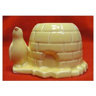 Vintage Morton Illinois Pottery Penguin and Igloo Planter