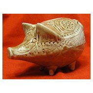Prudhoe Pottery Brown Textured Ceramic Piggy Bank - Unusual