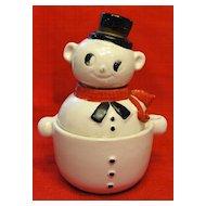 Three Piece Snowman Salt Pepper and Sugar or Jam Bowl