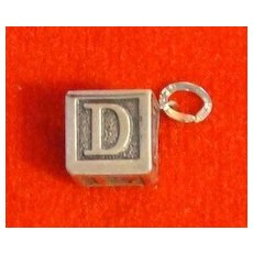 Vintage Beau Sterling Baby Alphabet Block Charm