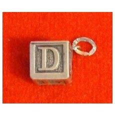 Vintage Beau Sterling Baby Alphabet Block Charm