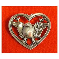 Coro Pegasus 1941 Sterling Silver Bird in Heart Pin