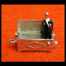 Vintage Hope Chest Charm Opens to Enameled Groom - Sterling Silver