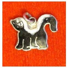 Enamel Skunk Vintage Sterling Silver Charm