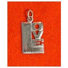 Vintage 1970's Sterling Silver Love Charm