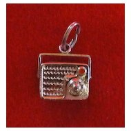 Vintage Sterling Silver Mechanical Radio Charm with Enamel