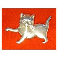 Vintage Playful Sterling Silver Kitten Pin by Lang