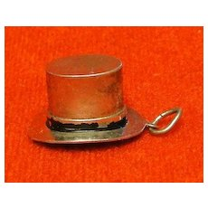 Great Three Dimensional Sterling Silver Top Hat Charm