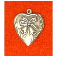 Vintage Sterling Puffy Heart Charm Repousse Bow & Bells