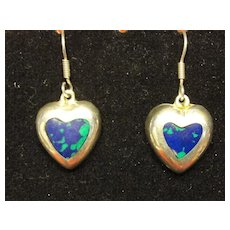 Vintage Sterling Silver Heart Dangle Earrings - Mexico