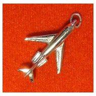 Vintage Sterling SIlver Jet Plane Charm - Bon Voyage