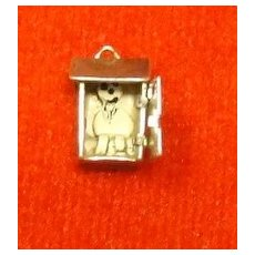 Vintage Sterling Silver Outhouse Charm - Mechanical
