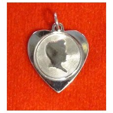 Vintage Sterling Silver Heart Charm with a Young Guy's Profile