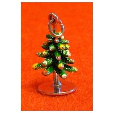 Vintage Sterling and Enamel Three Dimensional Christmas Tree Charm