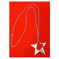 George Jensen Sterling Silver Star Pendant Large Size