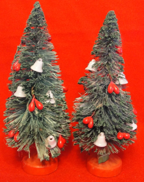 Pair Of Vintage Bottle Brush Trees With White Bells And Red