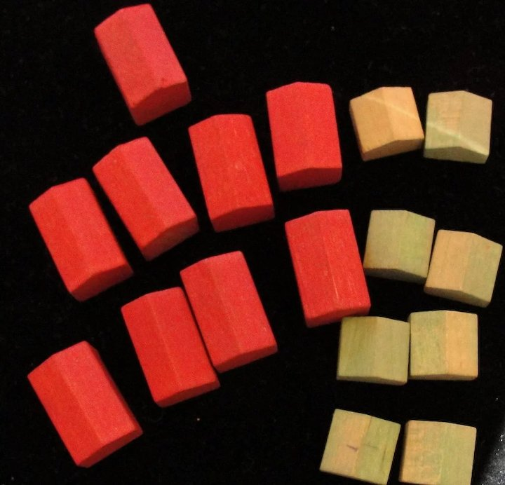Vintage Wooden Monopoly Game Pieces Houses And Hotels