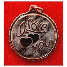 Vintage Sterling Silver I Love You Disc Charm - Can Be Engraved