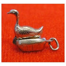 Vintage Enamel 1940's Goose with Golden Egg Charm Opens