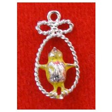 Vintage Sterling Silver Chick Enamel Charm
