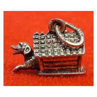 Vintage Beau Sterling Mechanical Dog in Doghouse Charm