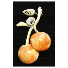 Lovely HAR Rhinestone Enamel Cherry Brooch Pin Deco Leaves
