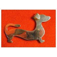 Sterling Silver Daschund Dog Pin Brooch