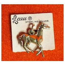 Vintage Beau Sterling Silver Galloping Horse Charm on the Original Card