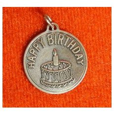 Vintage Beau Sterling Happy Birthday Disc Charm