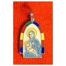 Vintage Stained Glass Enamel and Sterling Mary and Baby Jesus Charm