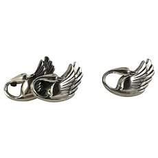 Pair of Vintage Beau Sterling Swan Pins