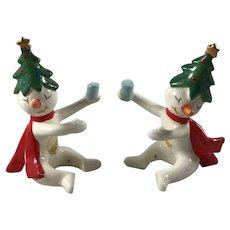 Vintage Christmas Holt Howard 'Ole Snowy' Tipsy Snowman Candle Climber Huggers
