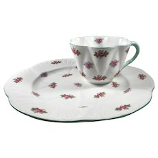 Shelley Rosebud Cup and Plate Snack Set
