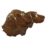 Brown Enamel on Metal Pin Two Handsome Dogs in Profile